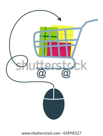 E-commerce concept with computer mouse and shopping trolley. Vector version. - stock vector