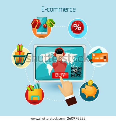 E-commerce concept with tablet computer and online shopping decorative icons set vector illustration - stock vector