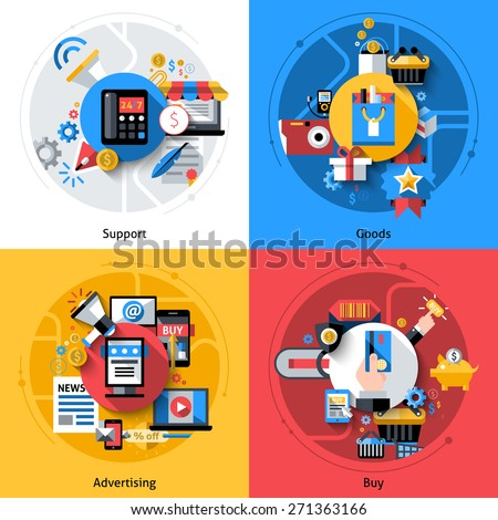 E-commerce design concept set with support goods advertising buy flat icons isolated vector illustration - stock vector