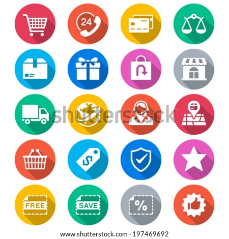 E-commerce flat color icons - stock vector