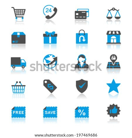 E-commerce flat with reflection icons - stock vector