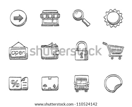 E commerce icon series in sketch - stock vector