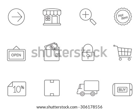 E-commerce icons in thin outline. Shopping, buying, market. - stock vector
