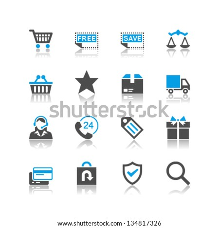 E-commerce icons reflection theme - stock vector