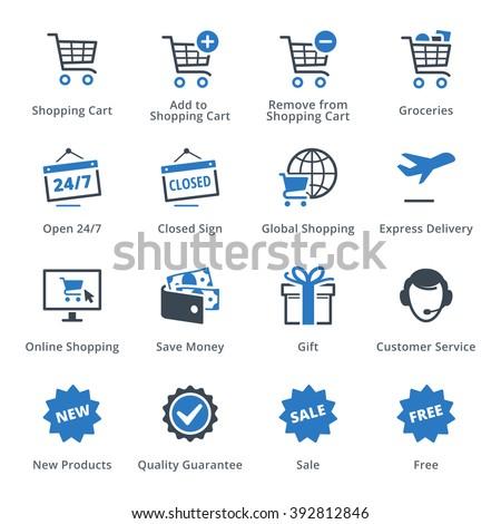E-commerce Icons Set 2 - Blue Series - stock vector