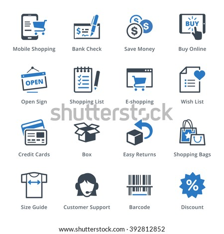 E-commerce Icons Set 3 - Blue Series - stock vector
