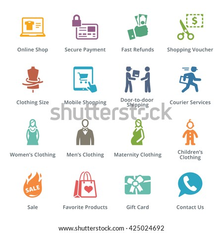 E-commerce Icons Set 1 - Colored Series - stock vector