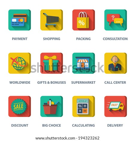 E-commerce internet shopping icons set of payment discount  delivery elements isolated vector illustration - stock vector