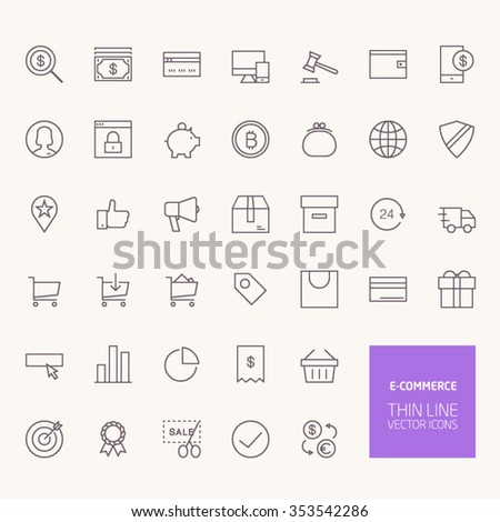 E-commerce Outline Icons for web and mobile apps - stock vector