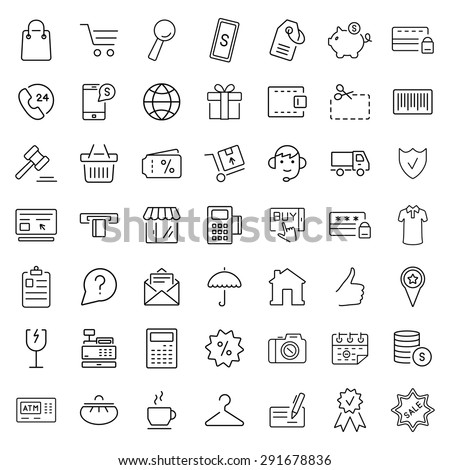 E-commerce. Outline web icons set - stock vector