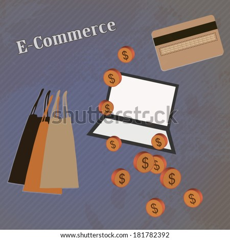 E-commerce poster with online marketing icons and signs illustration - stock vector