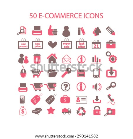 e-commerce, retail, commerce isolated icons, signs, illustrations, vector for internet, website, mobile application on white background - stock vector