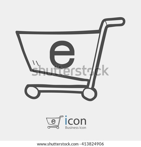 E-commerce. Shopping cart icon. - stock vector