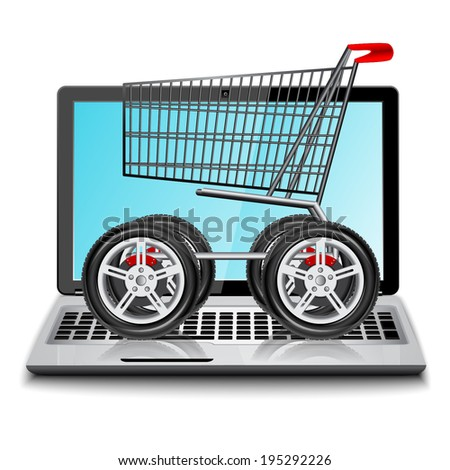 E-commerce. Shopping cart with big car wheel on laptop. Conceptual image. - stock vector