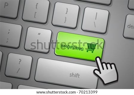 E-commerce shopping click. The whole keyboard is available behind the clipping path. - stock vector