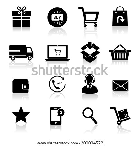 E-commerce shopping icons set of delivery support black isolated vector illustration. - stock vector