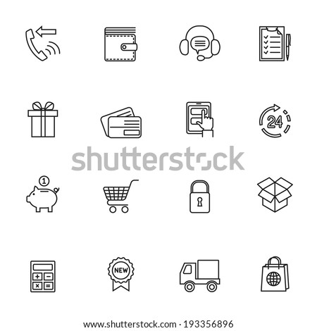 E-commerce shopping icons set of delivery truck credit card piggy bank isolated vector illustration - stock vector