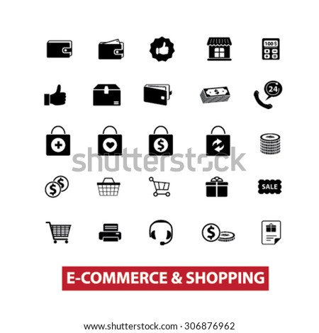 e-commerce, shopping, retail, shop, store, commerce, sale black isolated icons, signs, illustrations for web, application, internet on white background - stock vector