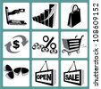 e commerce, shopping, web icon set - stock vector