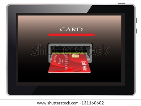 E-commerce. Tablet PC and credit card on white isolated background.
