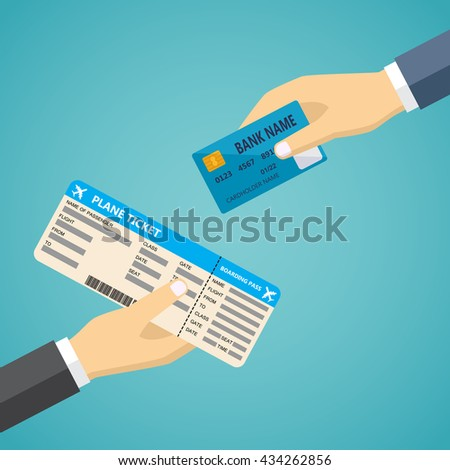 E-commerce vector flat illustration. Hand with credit card and hand with airplane boarding pass.