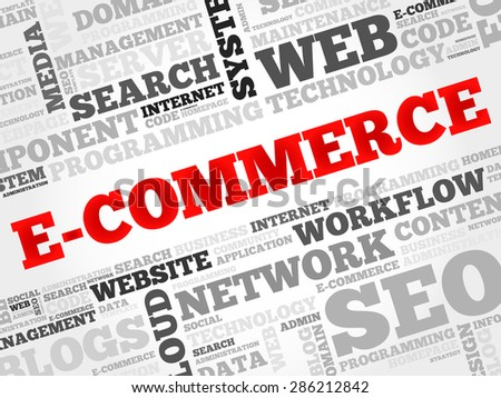 E-COMMERCE word cloud, business concept - stock vector