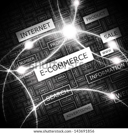 E-COMMERCE. Word cloud concept illustration.
