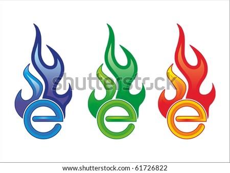 E in the fire - stock vector