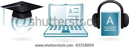 e-learning cartoon icons - stock vector