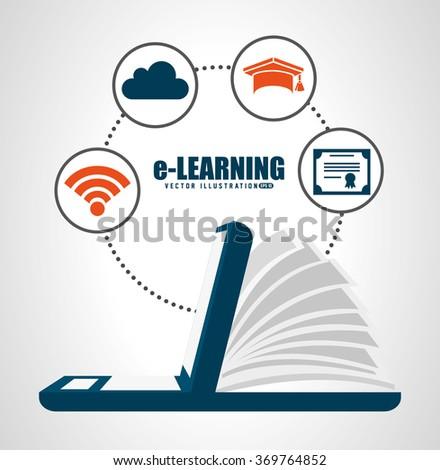 e-learning concept design  - stock vector