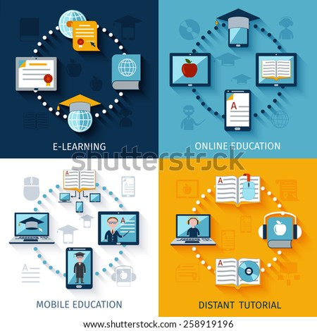 E-learning design concept set with online mobile eduation distant tutorial flat icons isolated vector illustration - stock vector