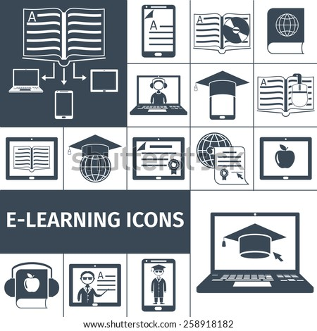 E-learning digital education decorative icon black set isolated vector illustration - stock vector
