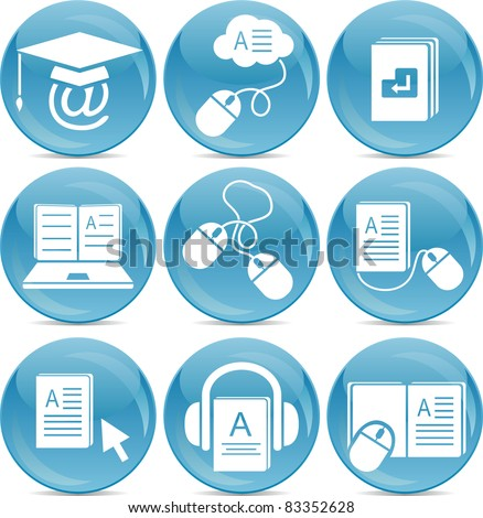 e-learning icons - stock vector