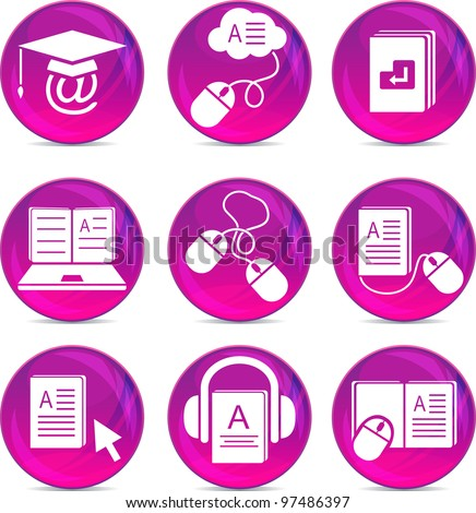 e-learning icons eps10 - stock vector