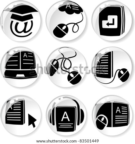e-learning icons in glassy balls - stock vector
