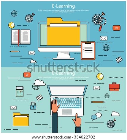E-learning, online education concept - stock vector