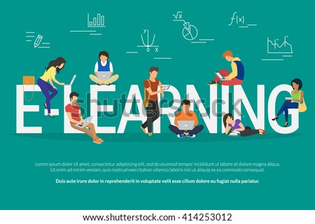 E-learning concept illustration of young various people using laptop, tablet pc and smartphone for distance studying and education. Flat design of guys and young women staying near letters e-learning - stock vector