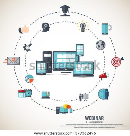 E- learning - webinar concept background - stock vector