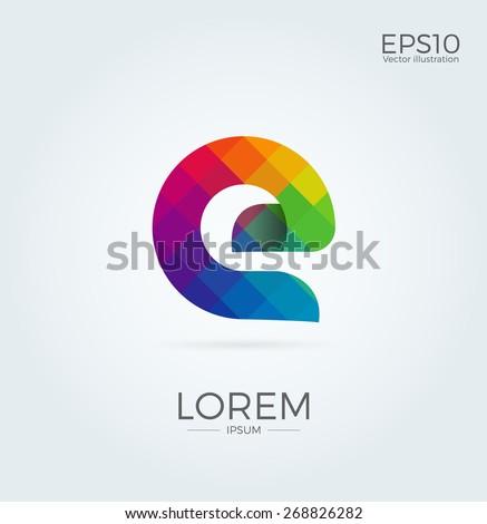 E Letter Logo Icon Mosaic Pattern Design template Element - stock vector