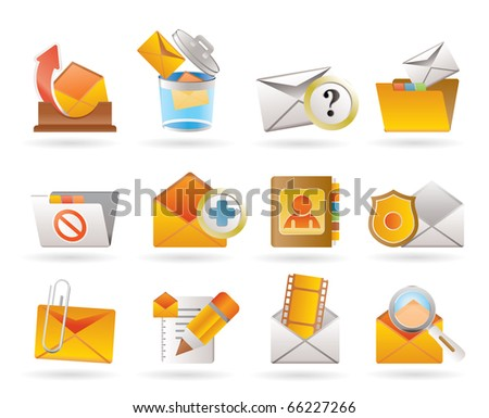 E-mail and Message Icons - vector icon set - stock vector