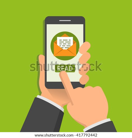 E-mail app or notification on smartphone screen. One hand holds smartphone and finger touch screen. Flat design vector illustration - stock vector