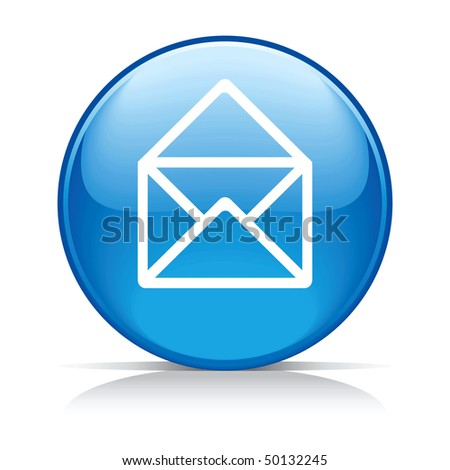 e-mail circle blue button icon isolated on white - stock vector