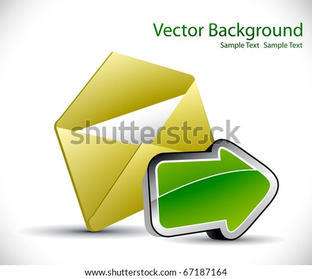 E-mail concept  color background with envelope and arrow - stock vector