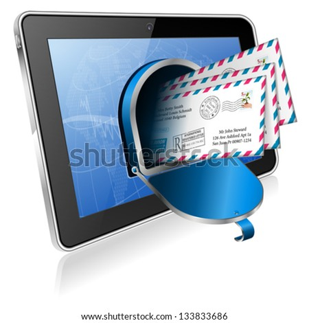 E-Mail concept - Open Mailbox with Mail on Screen Tablet PC, vector icon isolated on white background - stock vector