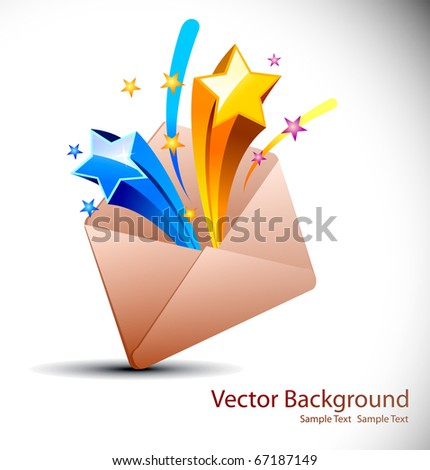 E-mail concept rainbow color swirly background with floral elements from envelope - stock vector