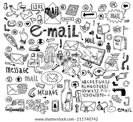 E-mail doodle set. Hand-drawn vector illustration. - stock vector