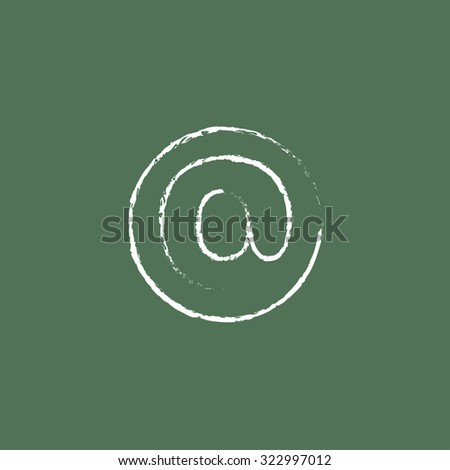 E-mail hand drawn in chalk on a blackboard vector white icon isolated on a green background. - stock vector