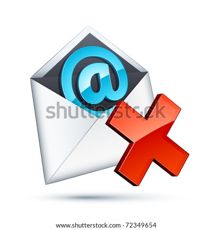 e mail icon and red cross - stock vector