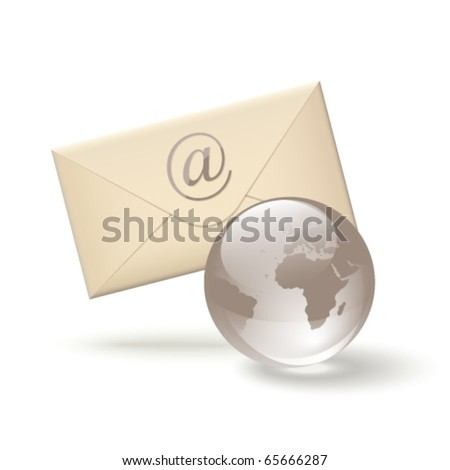 E-mail icon, envelope and glass globe