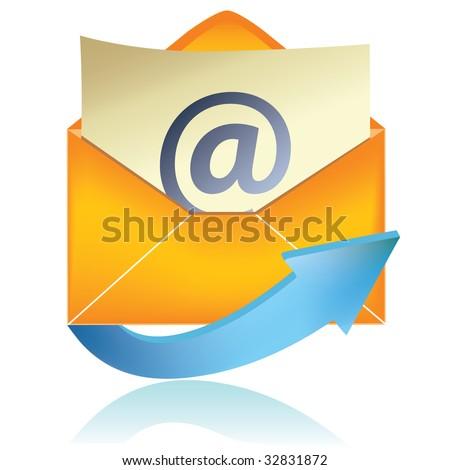 E-mail icon, orange #1 / vector - stock vector
